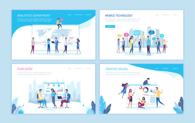 Working people office process vector templates