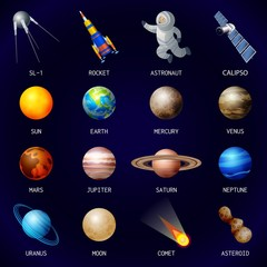 Planets icon set. Cartoon set of planets vector icons for web design