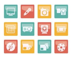 Media equipment icons over colored background - vector icon set