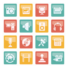 Media and household  equipment icons over colored background - vector icon set