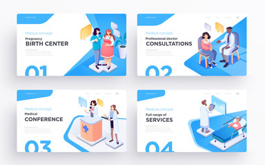 Presentation slide templates or hero banner images for websites, or apps. Medical concept illustrations. Modern isometric style
