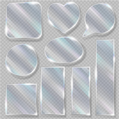Glass vector transparency glossy clear blank frame and empty glassful template heart illustration glassware set of realistic glossy bubble speech isolated on transparent background