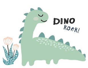dinosaur vector print in scandinavian style. chldish illustration for t shirt, kids fashion, fabric