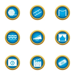 Video pic icons set. Flat set of 9 video pic vector icons for web isolated on white background