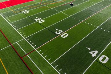 Closeup of football field with green grass