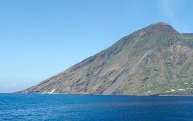 View of Stromboli, volcano of the Aeolian Islands Archipelago, Italy