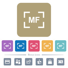 Camera manal focus mode flat icons on color rounded square backgrounds