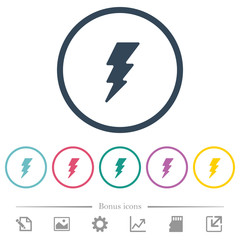 Lightning flat color icons in round outlines