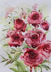 Roses watercolor painting