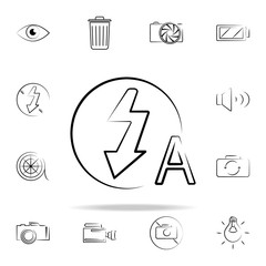 auto flash sign outine icon. Photo and camera icons universal set for web and mobile