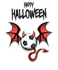 Soccer ball with horns, wings and devil tail