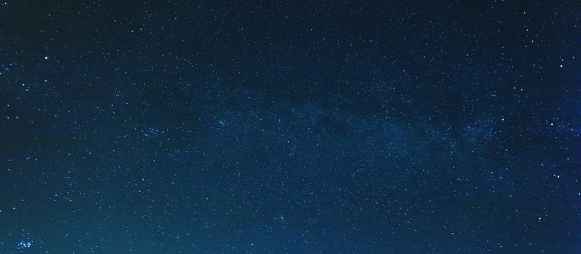 milky way with millions of stars in the sky, background, panorama, toned
