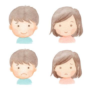 子ども 表情 水彩