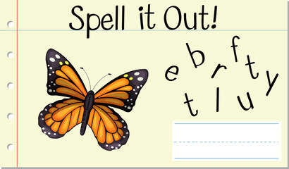 Spell English word butterfly