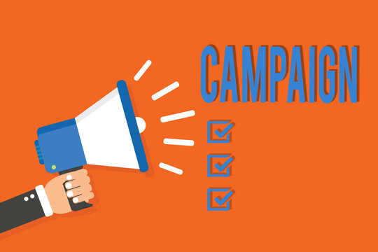 Word writing text Campaign. Business concept for organized course of action to promote and sell product service Man holding megaphone loudspeaker orange background message speaking loud