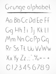 Vector hand drawn alphabet in style grung. Normal type.