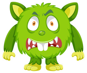 Green scary monster on white background