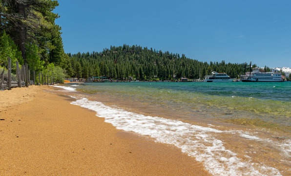 Zephyr Cove Beach is a popular location for weddings and receptions. Common trees found surrounding the shoreline include Jeffry Pine, Lodge-pole Pine, White Fir and Quaking Aspen.