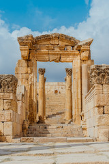 Ruins of the Nymphaeum in the Roman city of Gerasa (modern Jerash) in Jordan.