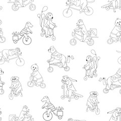 Dogs ride bicycles. Animals travel on business. Circus with dogs. Baby print for boys and girls.