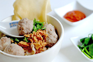 Beefball Noodle Soup, or Bakso Baso, Popular Asian Cuisine Food for Breakfast Lunch and Dinner