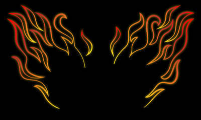 Stylized and minimalist fire wings vector illustration in cartoon line art with glow and dark background