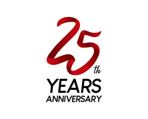 25 anniversary logo vector red ribbon