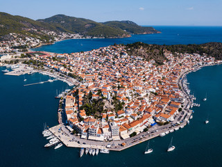 Top view of the Poros island Sea harbor, Aegean sea, Greece.
