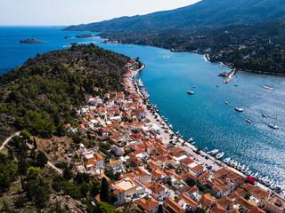 Aerial view of harbor at Poros island, Aegean sea, Greece.