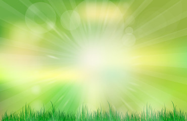 Abstract green and blue blurred gradient background. Nature blurred bokeh background with sunlight and grass.