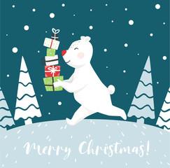 Run polar bear with gift box scandinavian card. New year.