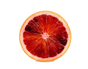 half cut blood orange isolated on white background