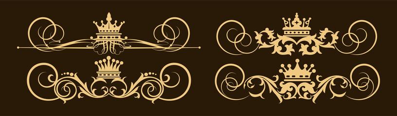 Royal gold royal elements on black background. Royal logo elegant, luxury style, vector set