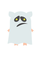 Pigs for Halloween costume ghost. A pig in a mantle, a cape. Ghost. Cartoon Vector