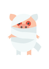 Pigs for Halloween costume mummy. Pig in bandages. Cartoon Vector