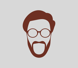 Male face symbol with sunglass and beard