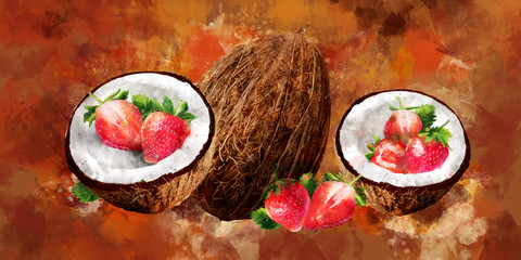 Watercolor coconut and strawberry on brown background