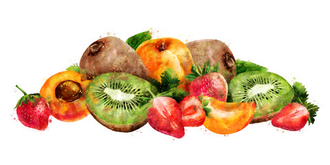 Apricot, strawberry and kiwi on white background. Watercolor illustration