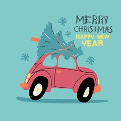 "Vector card ""Merry Christmas and happy new year"". Cartoon car with a Christmas tree."