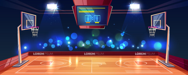Basketball court illuminated with stadium lights, scoreboard and cameras flashlight in fan sector cartoon vector illustration. Modern arena for sports games. Basketball championship or tournament