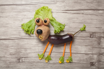 Idea of making a poodle from fresh vegetables