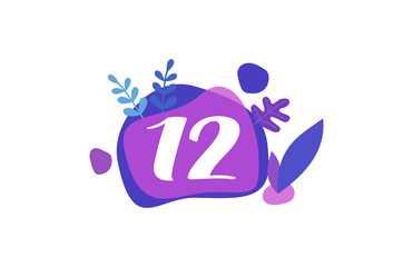 12 Years Anniversary Modern purple Blue Flat Design