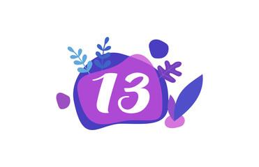 13 Years Anniversary Modern purple Blue Flat Design