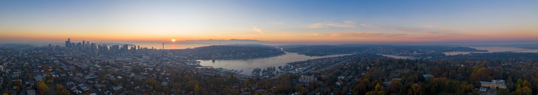 Seattle WA Sunset Panorama Drone Aerial View