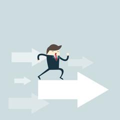 business man run on arrow to success target