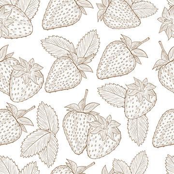 Strawberry. Background, wallpaper, seamless. Sketch. Monochrome.