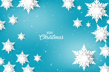 Christmas greeting card template  blue background with snow