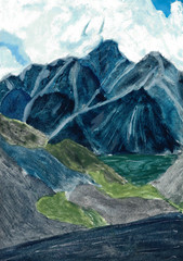 Watercolor drawing - mountains in the summer