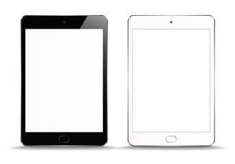 New Realistic set of White and Black Tablet PC Computer on white Background. Can Use for Template, Project, Presentation or Banner. Electronic Gadget, Device Set Mock Up. Vector Illustration