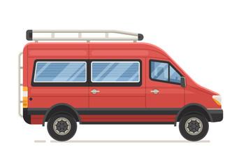 Retro RV minivan in flat design. Family van icon. Old red microbus for road travel. Cartoon voyage car.